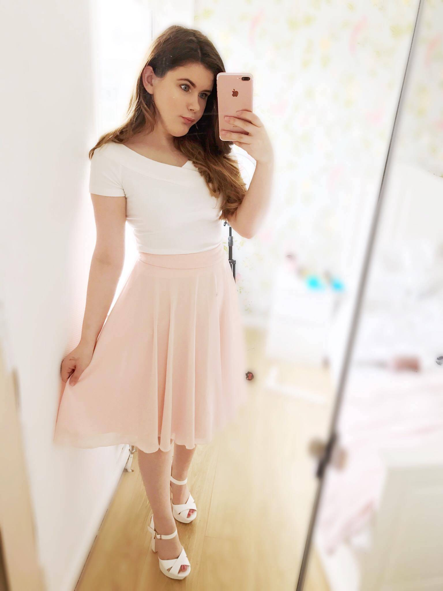 Beautiful Bardot & Pastel Peach Skirt | Outfit Inspiration – What I Wore